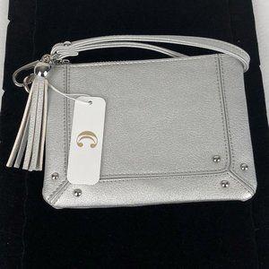 NWT Metallic Silver Wristlet faux leather